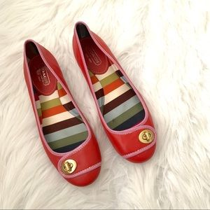 Coach Noel red and pink ballet flats